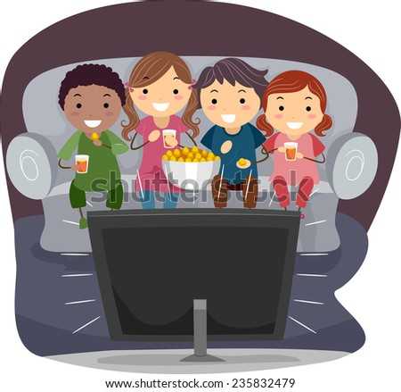 Illustration of Kids Eating Popcorn While Watching TV - stock vector