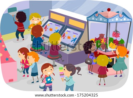 Illustration of Kids Enjoying a Day at the Arcade - stock vector