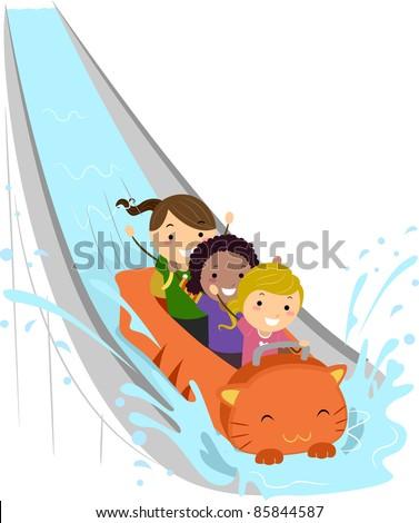 Illustration of Kids Enjoying a Water Ride - stock vector