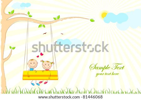 illustration of kids enjoying swing ride in park - stock vector