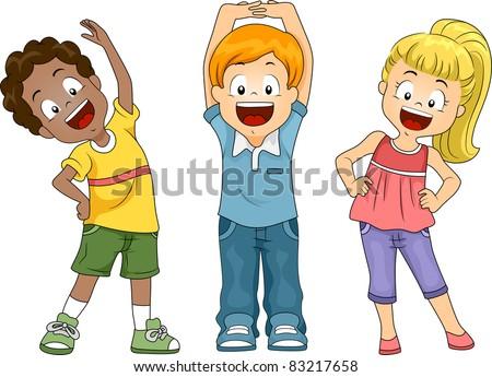 Illustration of Kids Exercising - stock vector