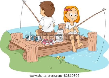 Illustration of Kids Fishing - stock vector