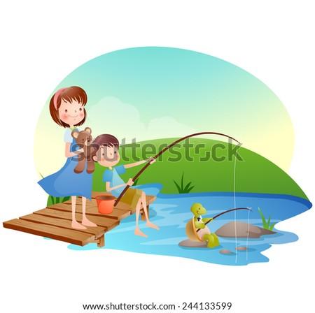 Illustration of Kids Fishing in river  - stock vector