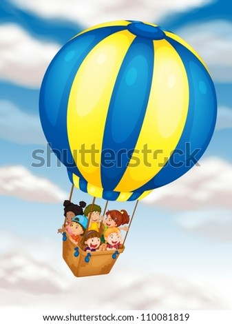 illustration of kids flying in hot air balloon - stock vector