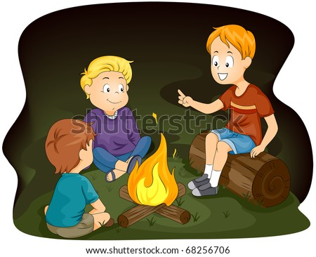 Illustration of Kids Gathered Around a Campfire - stock vector