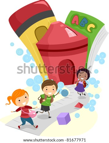 Illustration of Kids Going to School - stock vector