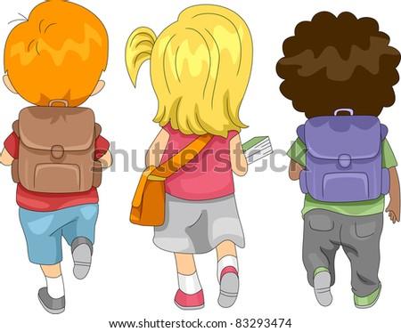 Illustration of Kids Going to School - stock vector