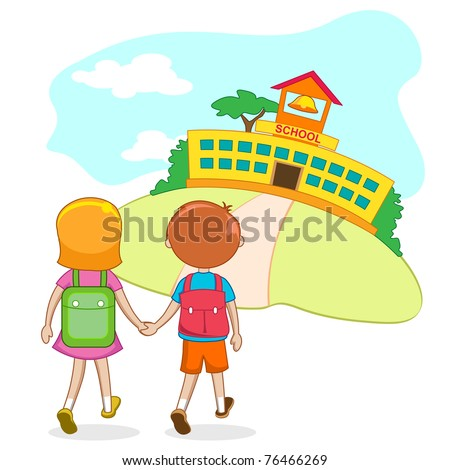 illustration of kids going to school holding hand - stock vector