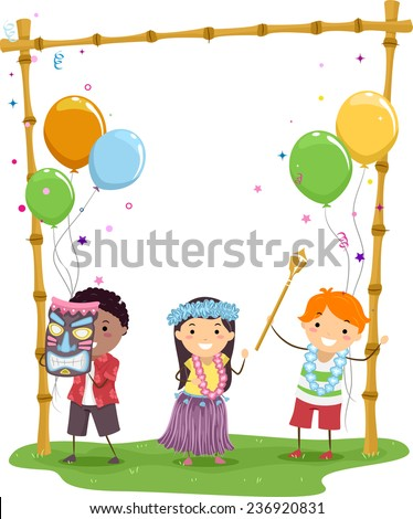 Illustration of Kids Having a Hawaiian Themed Party - stock vector