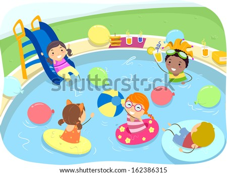 Illustration of Kids Having a Pool Party - stock vector