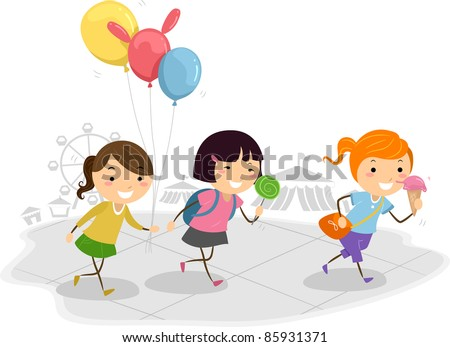 Illustration of Kids Having Fun at a Theme Park - stock vector