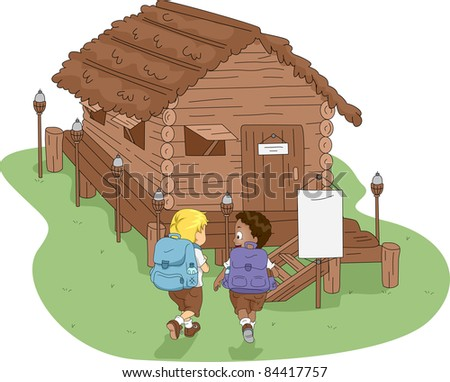 Illustration of Kids Heading to a Log Cabin - stock vector