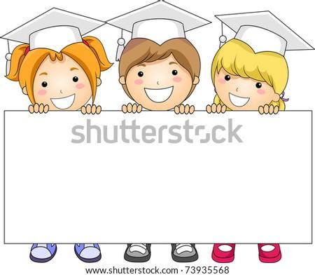 Illustration of Kids Holding a Banner - stock vector