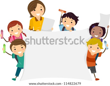 Illustration of Kids Holding a Large Banner with One Hand and a Crayon with the Other - stock vector