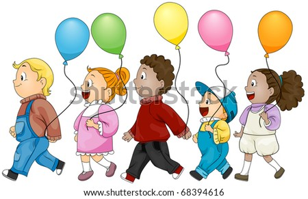 Illustration of Kids Holding Colorful Balloons - stock vector