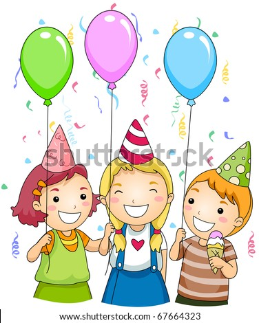 Illustration of Kids Holding Colorful Balloons at a Party - stock vector
