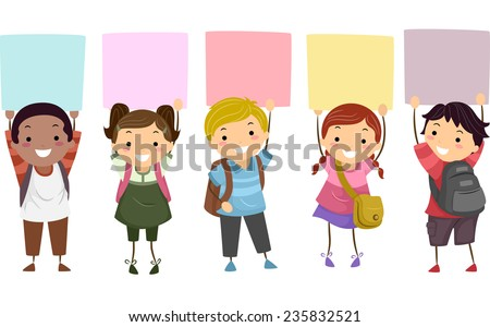 Illustration of Kids Holding Colorful Boards  Above Their Heads - stock vector