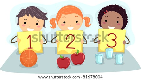 Illustration of Kids Holding Flash Cards with Numbers - stock vector