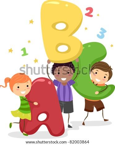 Illustration of Kids Holding Giant Letters - stock vector