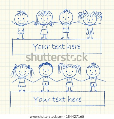Illustration of kids holding hands - ink chalk drawing - stock vector