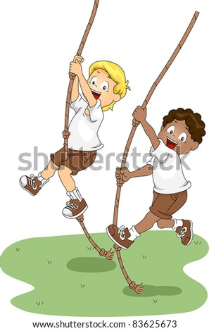 Illustration of Kids Holding on to Swinging Ropes - stock vector