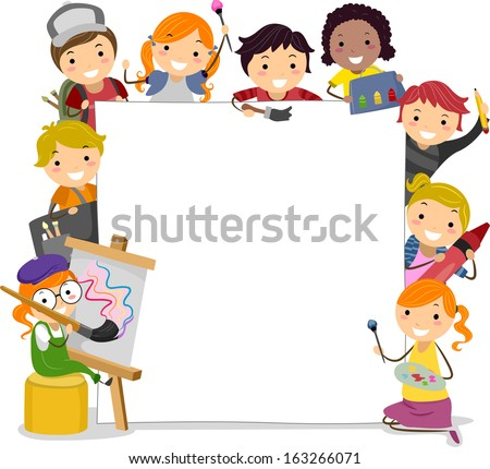 Illustration of Kids Holding Paintbrushes Surrounding a Blank Board - stock vector