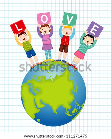 illustration of kids holding text love - stock vector