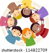Illustration of Kids Huddled Together in a Circle - stock vector
