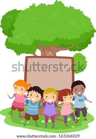 Illustration of Kids Huddled Together in Front of a Blank Board Nailed to a Tree - stock vector