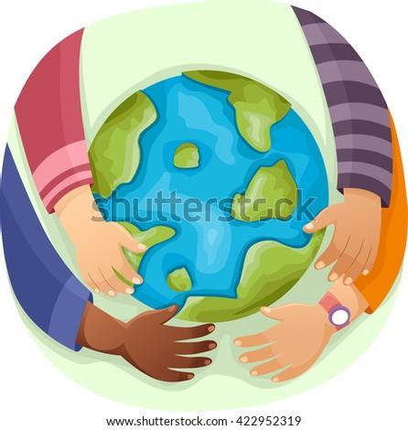 Illustration of Kids Hugging a Globe - stock vector