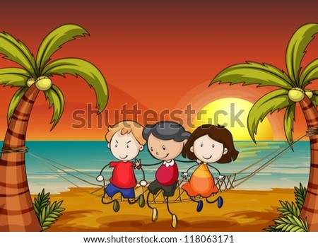 illustration of kids in a beautiful nature - stock vector