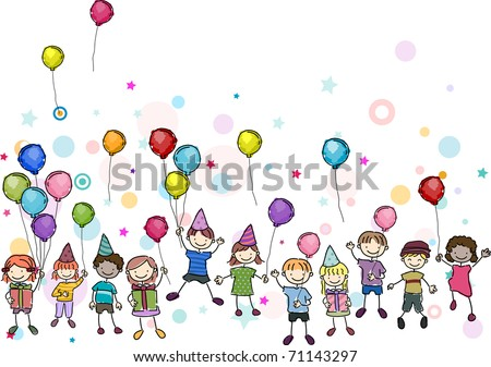 Illustration of Kids in a Birthday Party - stock vector
