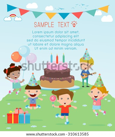 Illustration of Kids in a Birthday Party, Kids Party, birthday celebration, birthday party for kids  - stock vector