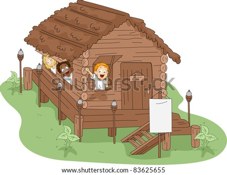 Illustration of Kids in a Camp House - stock vector
