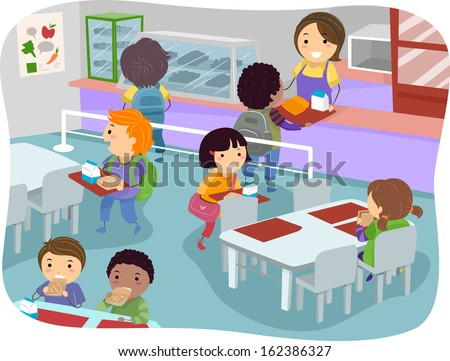 Illustration Kids Canteen Buying Eating Lunch Stock Vector