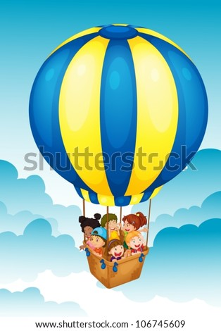 illustration of kids in a hot air balloon - stock vector