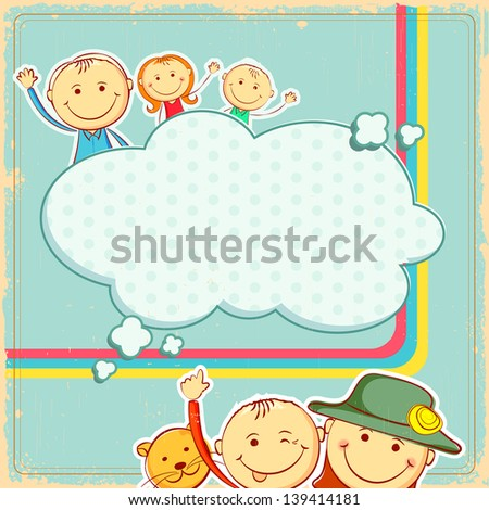 illustration of kids in abstract background - stock vector