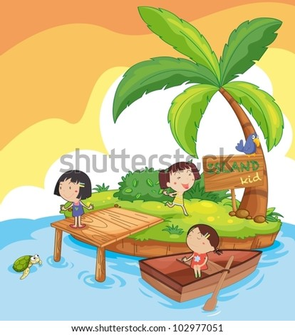 illustration of kids in an island - stock vector