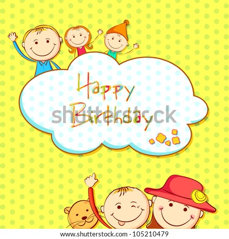 illustration of kids in birthday background with copy space - stock vector