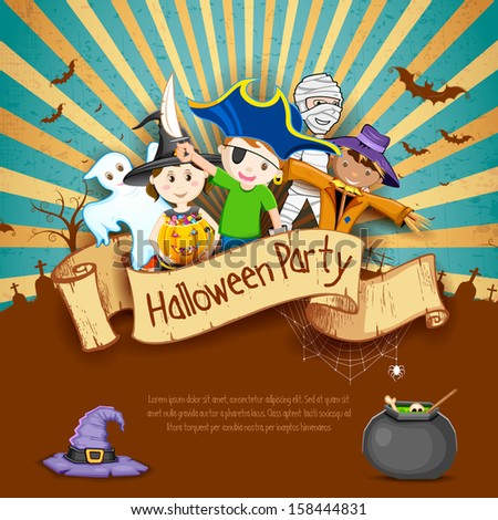 illustration of Kids in different costume for Halloween Party - stock vector
