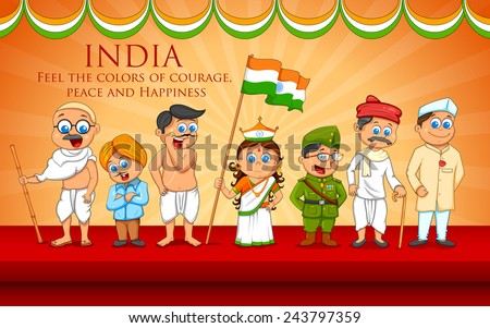 illustration of kids in fancy dress of Indian freedom fighter - stock vector