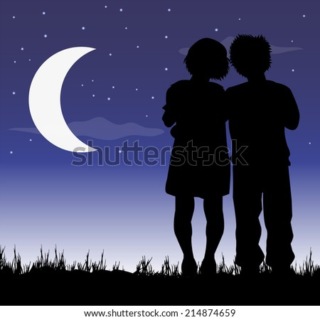 illustration of kids in love under the moon