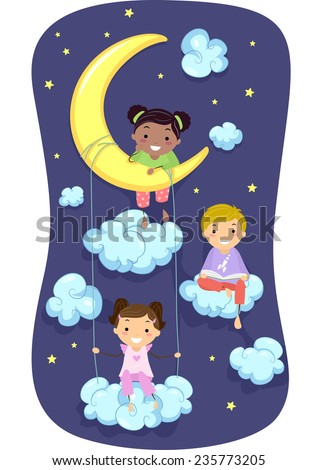 Illustration of Kids in Pajamas Surrounded by Clouds and Stars - stock vector