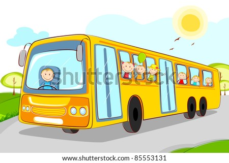 illustration of kids in school bus with driver - stock vector