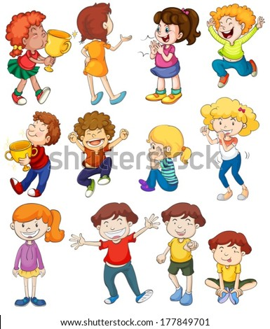 Illustration of kids in winning and cheering poses - stock vector