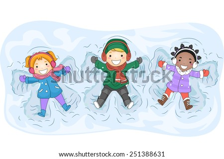 Illustration of Kids in Winter Gear Making Snow Angels - stock vector