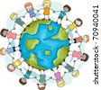 Illustration of Kids Joining Hands to Protect the Earth - stock photo