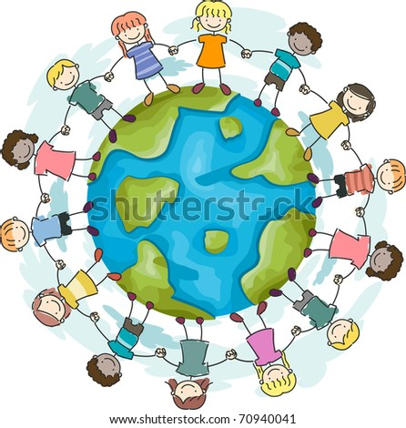 Illustration of Kids Joining Hands to Protect the Earth - stock vector
