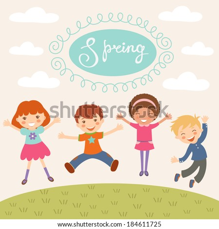 Illustration of kids jumping in spring - stock vector