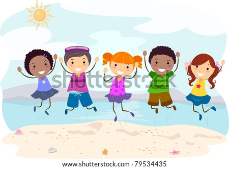 Illustration of Kids Jumping on the Beach - stock vector